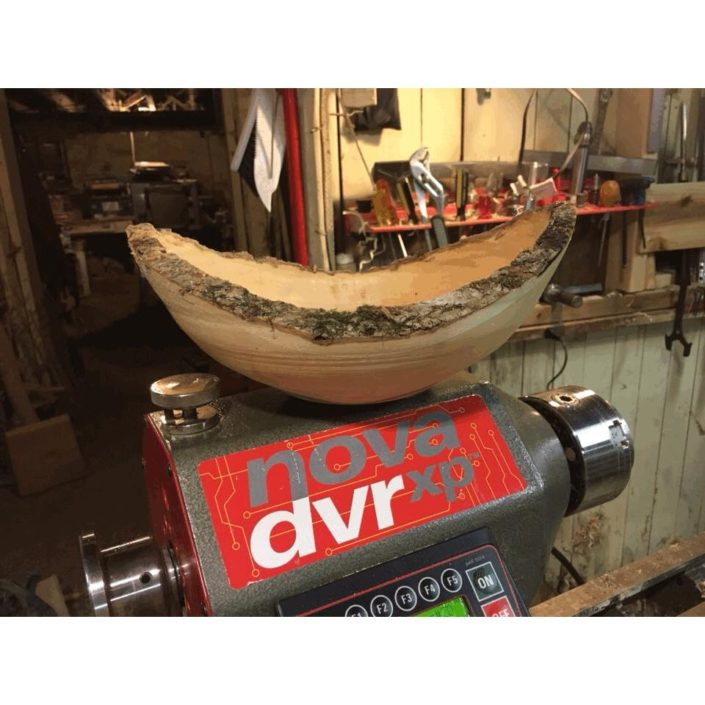 A woodwares bowl in progress with wood donated by Town Branch Tree Service.