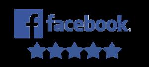 Blue Facebook logo with 5 blue stars underneath